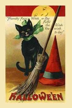 vintage halloween black cat [ostcard