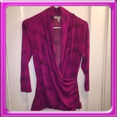 Top Hot pink top with black square design Chaus Tops