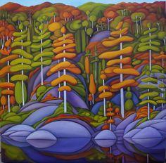 Deb Gibson, Canadian Artist, Algonquin Autumn, oil on canvas Artist Portfolio, Color Pencil Art, Canadian Artists, Paint Party, Acrylic Art, Tree Art, Sculpture Art, Art Projects, Art Prints
