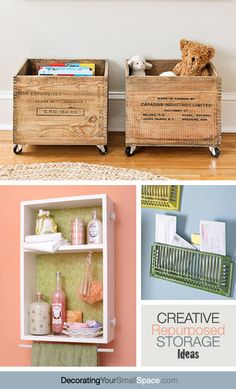 Creative Repurposed Storage Ideas- LOVE the toy crates! Repurposed Furniture, Diy Furniture, Diy Décoration, Diy Crafts, Deco Dyi, Muebles Shabby Chic, Ideas Para Organizar, Organization Hacks, Organizing