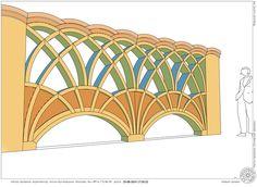 Проект забора из кирпича на отдельностоящих фундаментах для дачного участка. Кирпичный забор с арками. Архитектор Антон Булатецкий