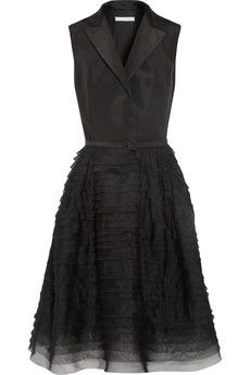 Oscar de la Renta Silk-faille and organza tuxedo dress | NET-A-PORTER