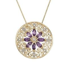 Yellow Gold Plated Sterling Silver African Amethyst and Diamond Accent Medallion Pendant Necklace