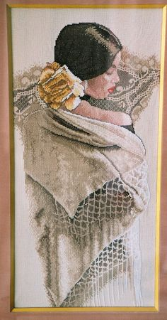 Counted Cross Stitch Kit by Lee Bogle, for Bucilla, The White Shawl, Lovely Lady with Shawl, Hard To Find