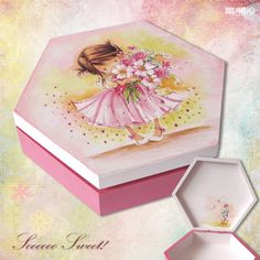 wooden decoupased box, little princess, storage box