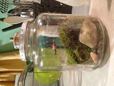 Cross at Calvary terrarium, With a tomb and rock as well. Good Friday Crafts, Holy Friday, Terrarium, Sunday, Easter, Rock, Fun, Decor, Terrariums