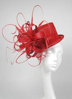 Red Mini Top Hat  Kentucky Derby or Wedding Hat by Hatsbycressida, $150.00