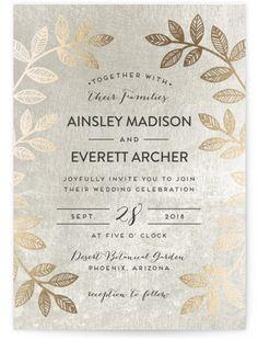 Folk Filigree Foil-Pressed Wedding Invitations