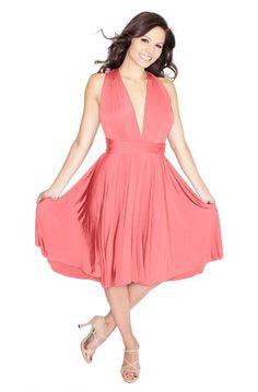 Sakura Convertible Short Dress - Peach-Pink Coral $128.00