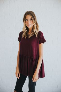 Striped Peplum in Burgandy – cladandcloth