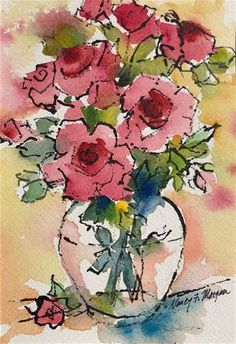 """Daily Paintworks - """"Roses for You"""" - Original Fine Art for Sale - © Nancy F. Morgan"""
