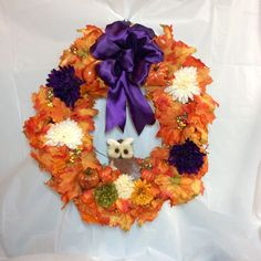 "Fall wreath. Gold, orange maple leaves on 18"" vine form. Sisel owl, purple, cream, green mums, faux gourd, pumpkins. Purple satin finish bow by KhQualityCreations on Etsy"
