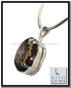 Smoky Quartz Silver Pendant Riyo Gems www.riyogems.com