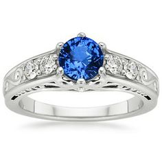 Platinum Sapphire Art Deco Filigree Ring, top view
