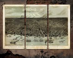 Vintage Map of Detroit on METAL Triptych 34x23 by ArtHouseGraffiti, $139.00