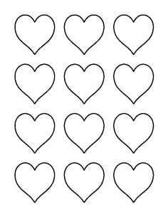 Printable heart shapes tiny small medium outlines i for Small heart template to print