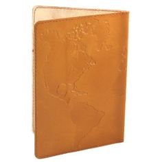 Hand Made Genuine Leather Passport Cover - Fair Trade - World Map, Saddle Brown (Office Product)