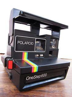 Items similar to Vintage Polaroid camera print - 8x10 photo, 1970s Polaroid One Step 600 - classic rainbow stripe on Etsy