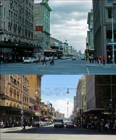 Hindley St. Top mid 70's, bottom 2012. Miller Andersons on the right is now an apartment block.