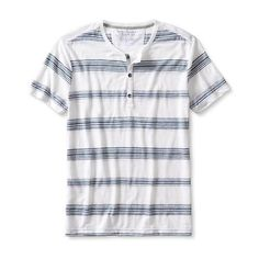 Banana Republic Mens Vintage Stripe Short Sleeve Henley ($40) ❤ liked on Polyvore featuring men's fashion, men's clothing, men's shirts, men's casual shirts, mens casual button down shirts, mens casual short-sleeve button-down shirts, mens striped shirt, mens vintage button down shirts and mens crew neck t shirts