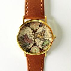 World Map Watch, Vintage Style Leather Watch, Women Watches, Boyfriend Watch, World Map, Men's Watch,  Silver and Gold Case , Map Watch by FreeForme on Etsy https://www.etsy.com/listing/170717108/world-map-watch-vintage-style-leather