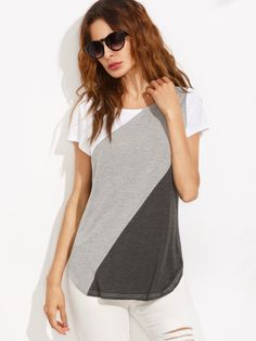 Shop Color Block Dolphin Hem Short Sleeve T-shirt online. SheIn offers Color Block Dolphin Hem Short Sleeve T-shirt & more to fit your fashionable needs. Maxi Outfits, Summer Dress Outfits, Fashion Outfits, Sewing Blouses, Blouse Models, Moda Chic, Easy Sewing Patterns, Tunic Blouse, Classy Outfits
