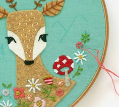 Mushroom and fawn woodland critter embroidery pattern