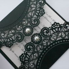 Black Lace Wedding Invitations with Pearls