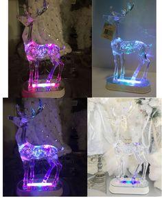 Shabby Lights Up Lit LED Table Centerpiece Xmas Display Decoration Reindeer Deer