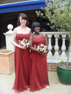 Bridesmaids with the posies I made from artifical flowers.