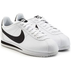 Nike Leather Cortez Sneakers (€82) ❤ liked on Polyvore featuring shoes, sneakers, nike, white, white sneakers, leather shoes, nike shoes and leather footwear