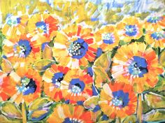 18 x 24 Sunflower Spectrum Acrylic Painting by EvelynHenson, $70.00