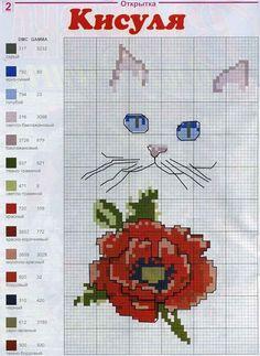 Cat Cross Stitches, Cross Stitch Charts, Counted Cross Stitch Patterns, Cross Stitch Designs, Cross Stitching, Cross Stitch Embroidery, Christmas Embroidery Patterns, Chart Design, Cross Stitch Animals