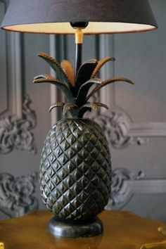 Pineapple Table Lamp in burnished metal by Rockett St George. Is 44cm high and costs £95. #pineapple