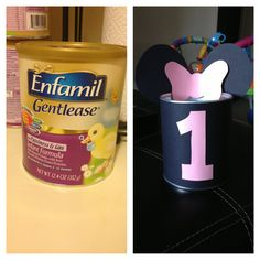 Glad I thought to save my daughters formula cans! DIY #minimouse party favors for her first birthday party! All they need now is some candy!