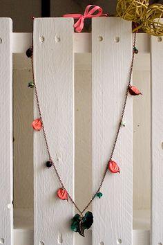 Pot Pourri, Collana con petali rosa e fiore verde! Necklace with pink petals and green flower