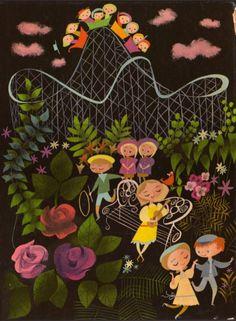 "Mary Blair cover illustration from ""The Golden Song Book. Mary Blair, Desenho Pop Art, Collages, Disney Artists, Children's Book Illustration, Digital Illustration, Bunt, Vintage Art, Illustrators"