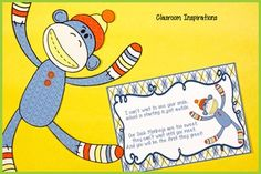 Welcome to Classroom Inspirations!The Sock Monkey themed classroom room dcor offers multiple design options in cheerful colors and fun designs.  The Sock Monkey Postcards complement the rest of the Sock Monkey collection in orange, yellow, green and blue.