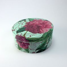 Decoupage small round wooden box, jewelry, chocolate or candy box, shabby chic, romantic rose flower design, handmade, vintage look, unique by etsyTVOJA on Etsy