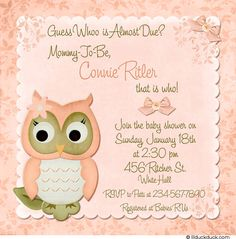 Free printable owl baby shower invitations other printables bay girl owl themes spring peach owl shower invitation flower sage green color filmwisefo