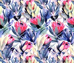 Painted+Protea+Floral+-+light+version+fabric+by+micklyn+on+Spoonflower+-+custom+fabric