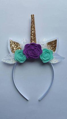 Purple and teal unicorn headband... Birthday unicorn
