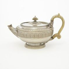 Tea Pot London, England Storr, Paul, born 1771 - died 1844 Materials Silver and ivory Branches Of Art, Classical Period, Silver Teapot, Coffee Service, Rococo Style, Article Design, Tea Art, Chocolate Pots, Victoria And Albert Museum