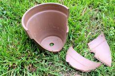 broken pot for garden design