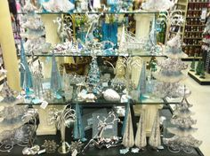 Blue & White Christmas---actually I just saw this display (or one close to it) at Hobby Lobby today.......