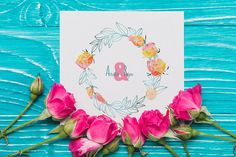 Roses and Mimosa Spring Bouquet by WBS Design on @creativemarket