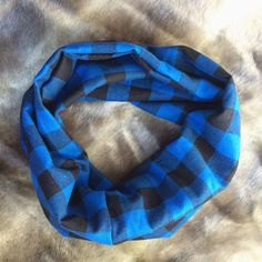 The classic Buffalo Plaid Infinity scarf in blue