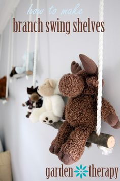 How to make branch swing shelves for your child's stuffed animals!