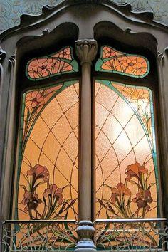 Art Nouveau - Fenêtre et Vitrail - Barcelone - Espagne