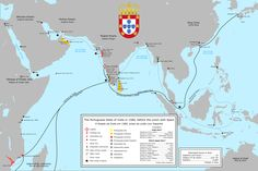 A complete map of the Portuguese maritime Empire in Asia in the 16th century.